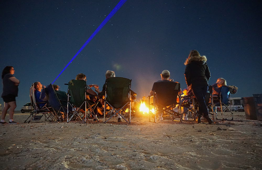 camp fire laser, lasers, desert camping, campfire, toys, night sky, stars, Ocotillo Wells