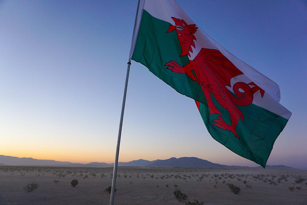 flag, welsh flag, sunset, desert camping, flag pole, RV, Travel Trailer, camping, desert, Anza Borrego Desert State park, Ocotillo Wells